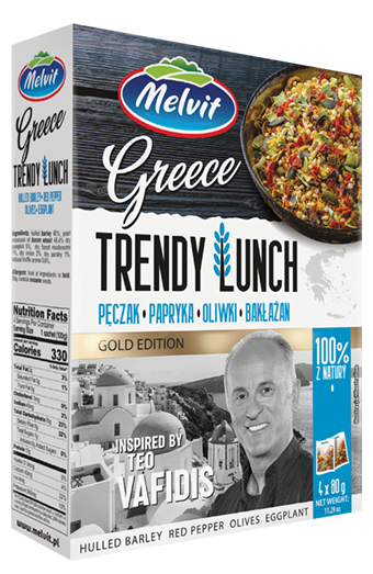 Trendy Lunch Greece: Pęczak, papryka, oliwki, bakłażan